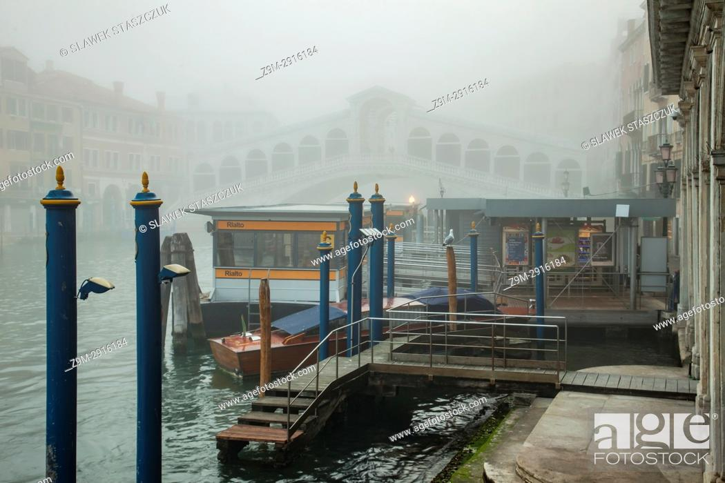 Stock Photo: Foggy morning on Grand Canal in Venice, Italy.