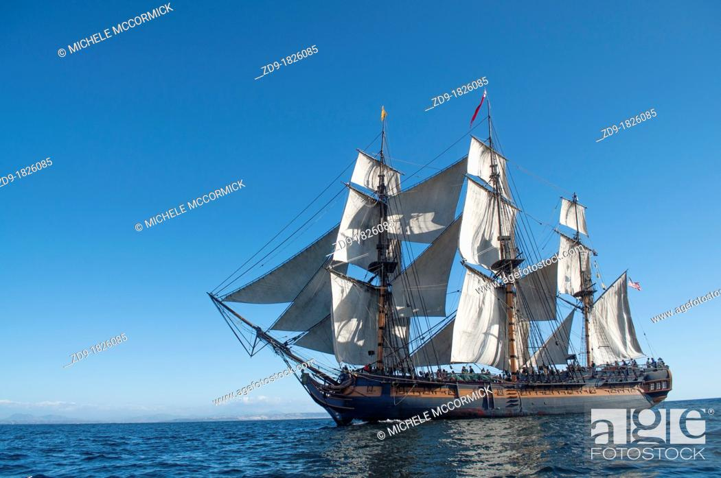 Stock Photo: The Surprise under sail in the San Diego Bay.
