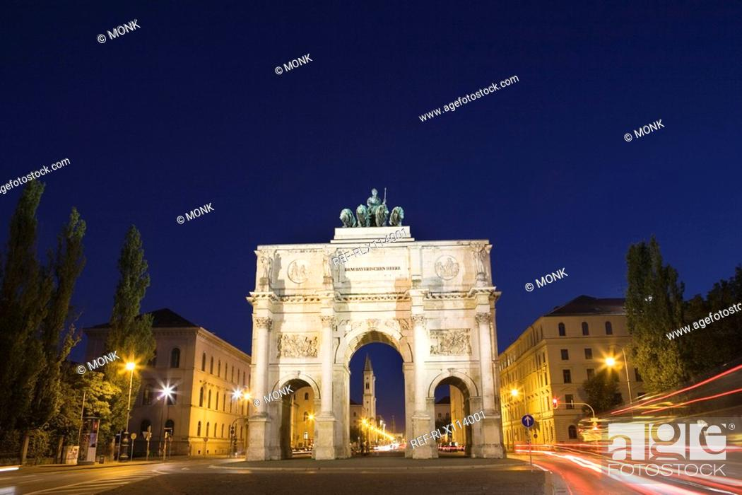 Stock Photo: Victory Gate at night in Munich, Bavaria, Germany.