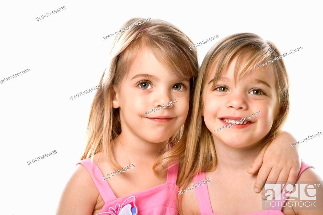 Stock Photo: Female children Caucasian twins.
