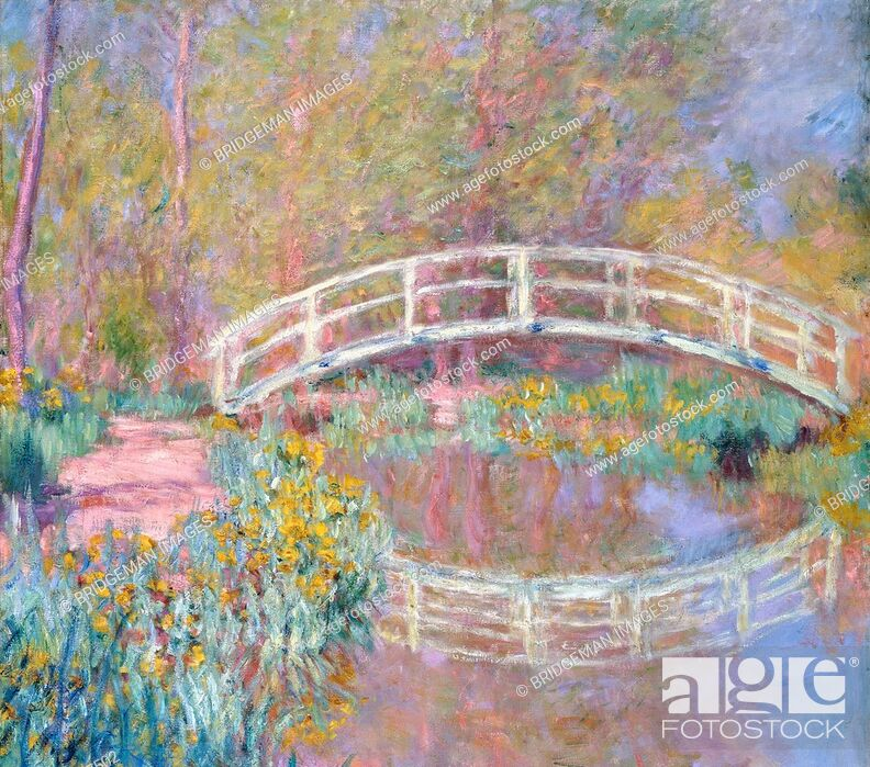 Stock Photo: Bridge in Monet's Garden, 1895-96 (oil on canvas), Monet, Claude (1840-1926) / Private Collection / Photo © Christie's Images / Bridgeman Images.