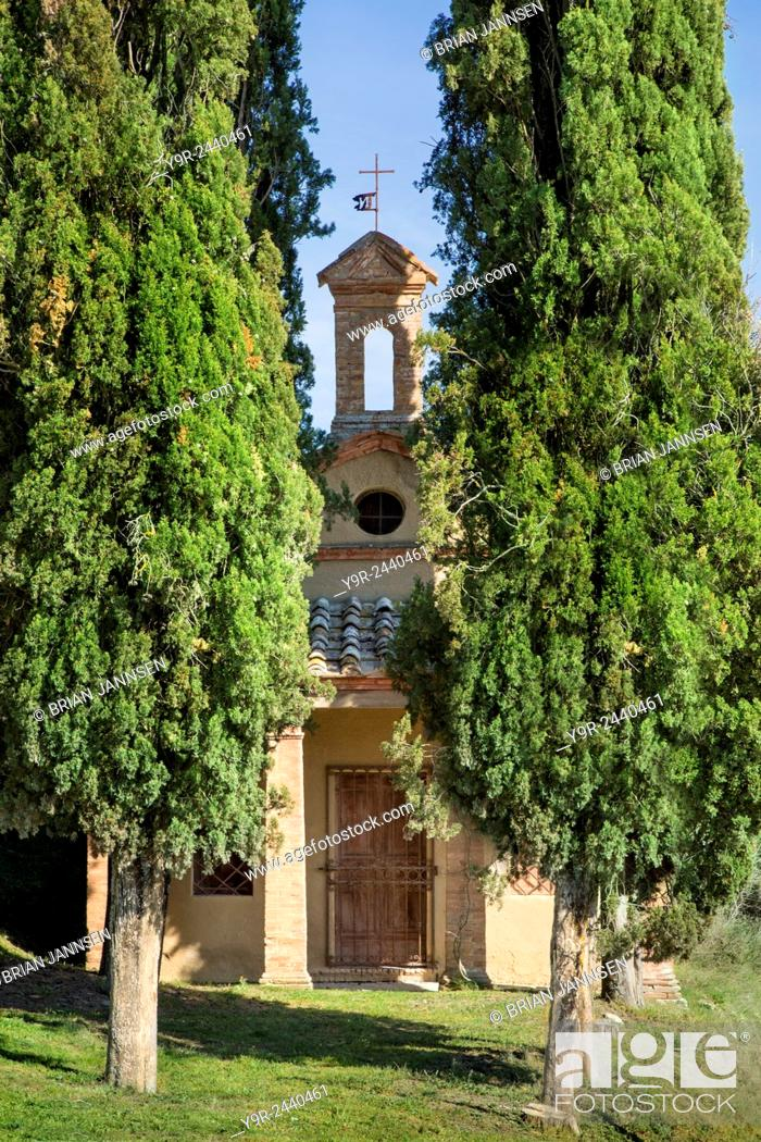 Stock Photo: Little chapel in Lucignano d'Asso, Tuscany, Italy.