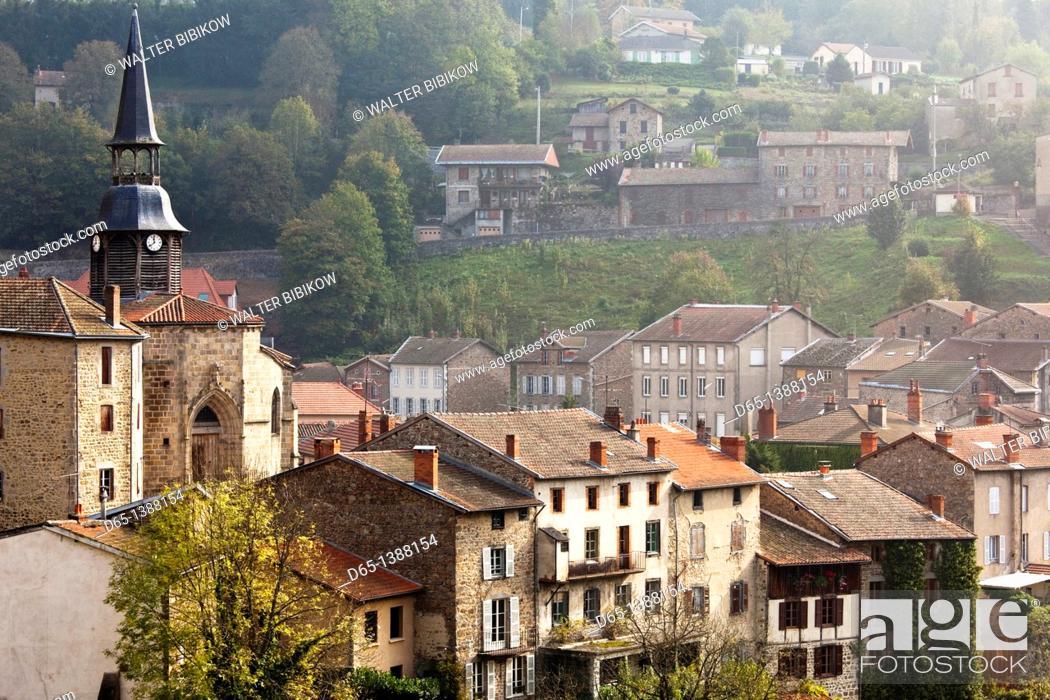 Stock Photo: France, Puy-de-Dome Department, Auvergne Region, Olliergues, town view.