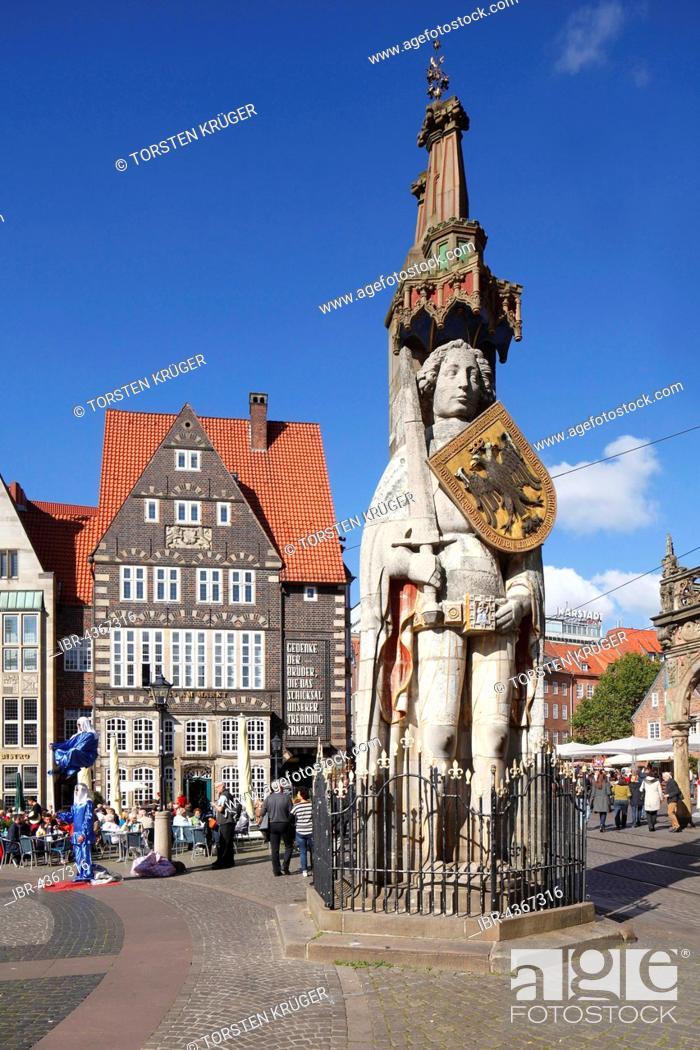 Stock Photo: Bremen Roland, statue in market square, historic centre, landmark, Bremen, Germany.