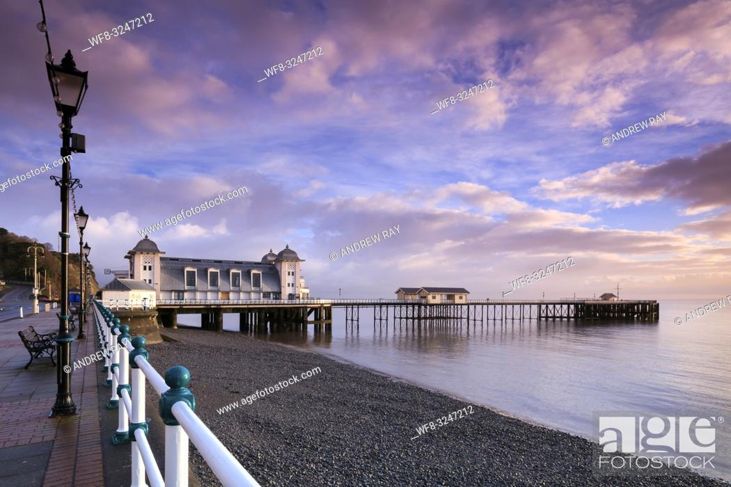 Stock Photo: The Victorian Pier at Penarth near Cardiff in South Wales, captured from the promenade when it was bathed in early morning light in mid February.
