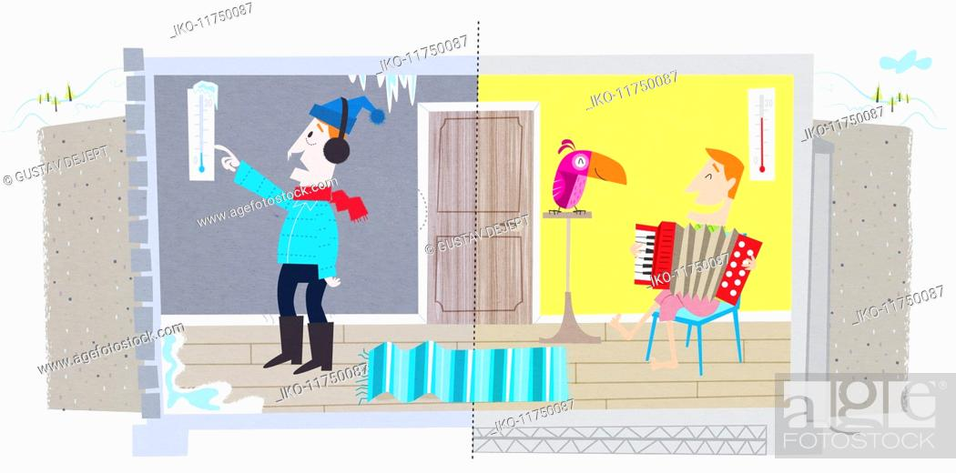 Stock Photo: Contrast between man in cold house and man in warm insulated house in winter.