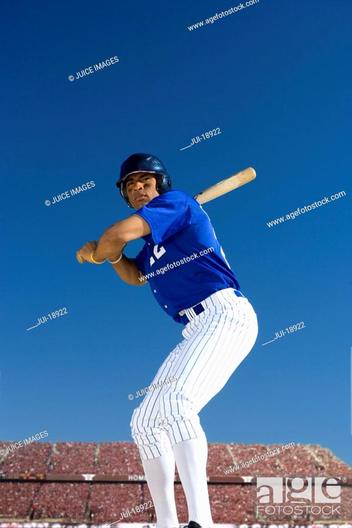 Stock Photo: Batter poised to swing.