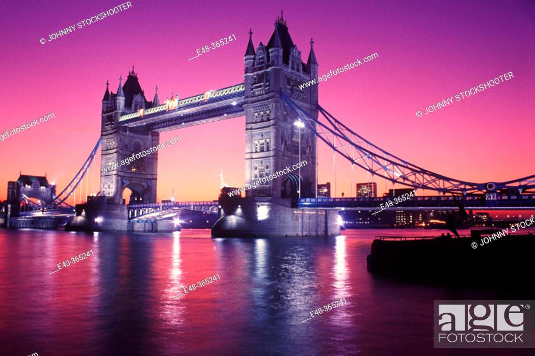 Stock Photo: Tower Bridge on Thames River. London. England, UK.
