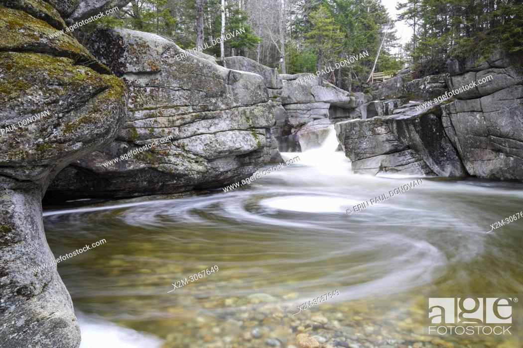 Stock Photo: Upper Ammonoosuc Falls, which are located along the Ammonoosuc River in Crawford's Purchase of the New Hampshire White Mountains during the spring months.