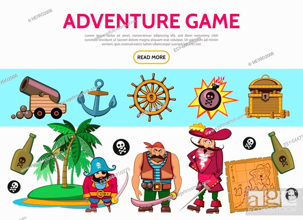 Stock Vector: Cartoon adventure game elements set with pirates cannon anchor bomb treasure chest map bottles island steering wheel skull crossbones isolated vector.