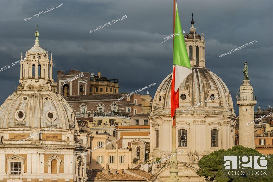 Stock Photo: Churches of Santa Maria di Loreto (St. Mary of Loreto) and Santissimo Nome di Maria al Foro Traiano (Church of the Most Holy Name of Mary at the Trajan Forum).