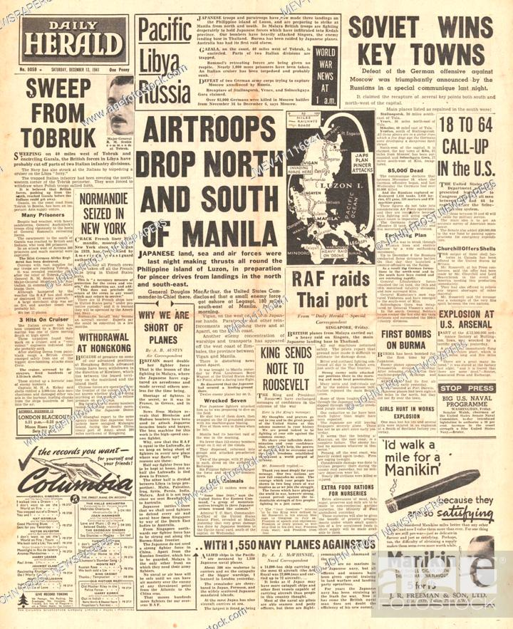 1941 front page Daily Herald Japanese Paratroopers land in