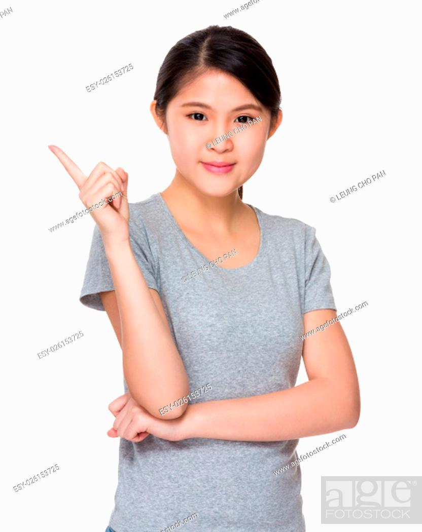 Stock Photo: Asian Young woman with finger point up.