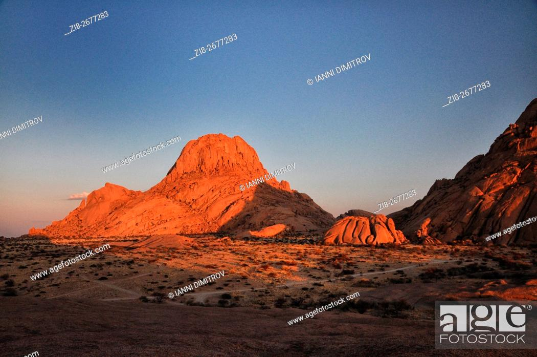 Stock Photo: Spitzkoppe-a group of bald granite peaks or bornhardts located between Usakos and Swakopmund in the Namib desert of Namibia.