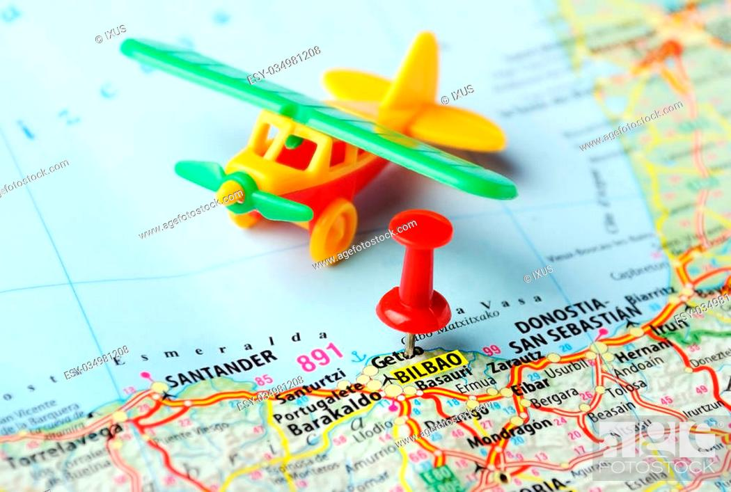 Close up of Bilbao ,Spain map airplane and red pin - Travel ...