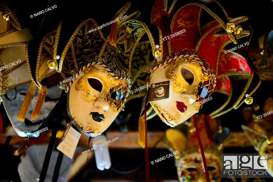 Stock Photo: Carnival mask shop in Venice, Italy.