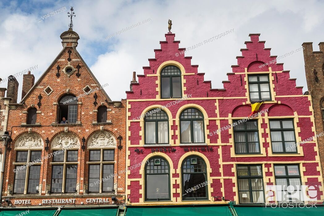 Stock Photo: Beautiful timbered houses in the picturesque city of Bruges, Belgium, Europe.