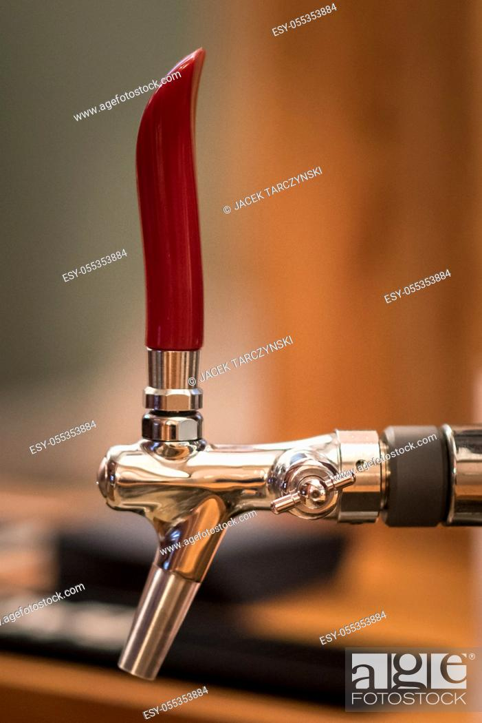Stock Photo: a tap for beer closeup.