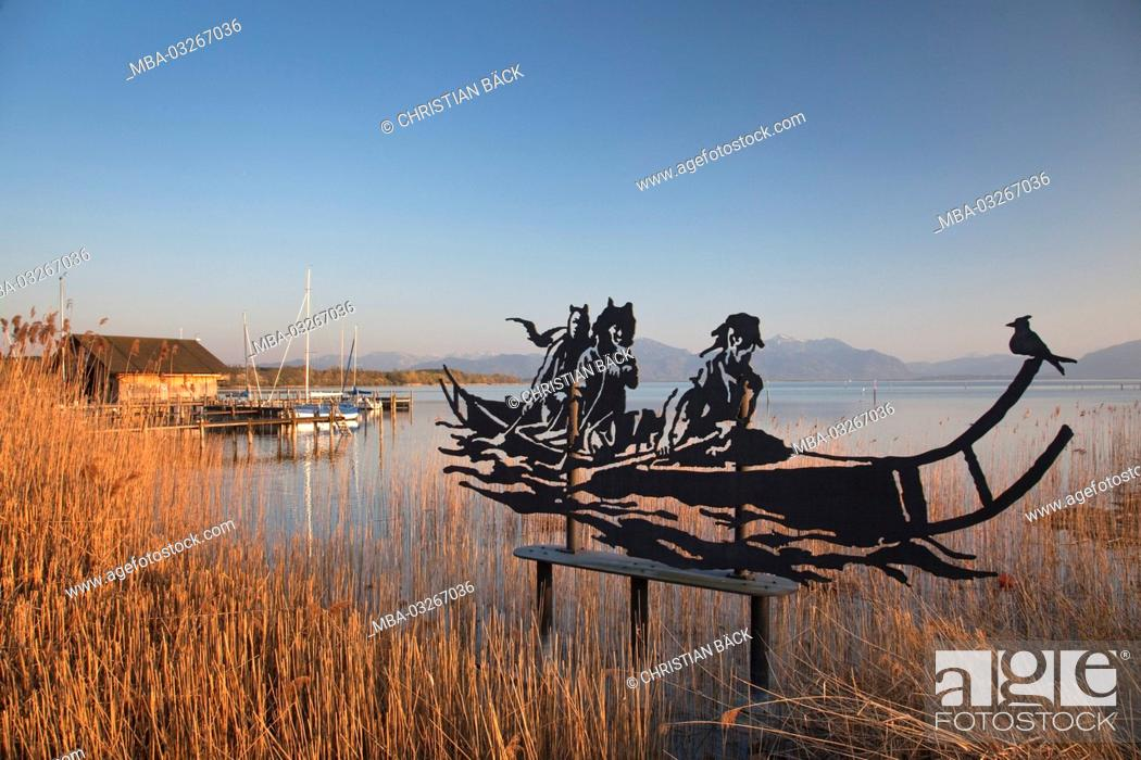 Stock Photo: Boathouse and boats at the lake Chiemsee, Seeon-Seebruck, Chiemgau, Upper Bavaria, Bavaria, South Germany, Germany,.