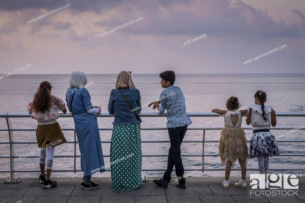 Stock Photo: Relax time, Corniche, Beirut, Lebanon.