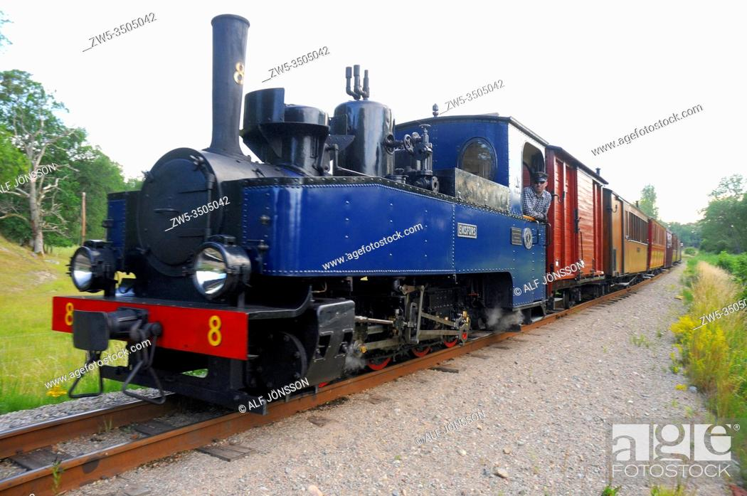 Stock Photo: Museum train with Emsfors locomotive in Mariefred, Sodermanland, Sweden. Built by Hartmann in Germany during the first world war.