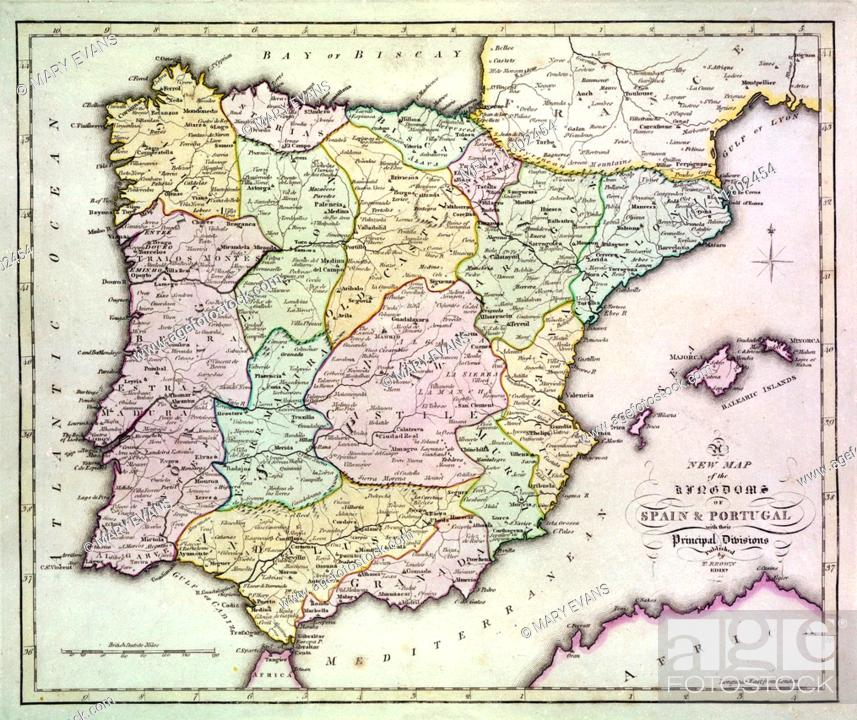Map Of Southern Spain And Portugal.Map Of Spain And Portugal With Part Of Southern France And Northern