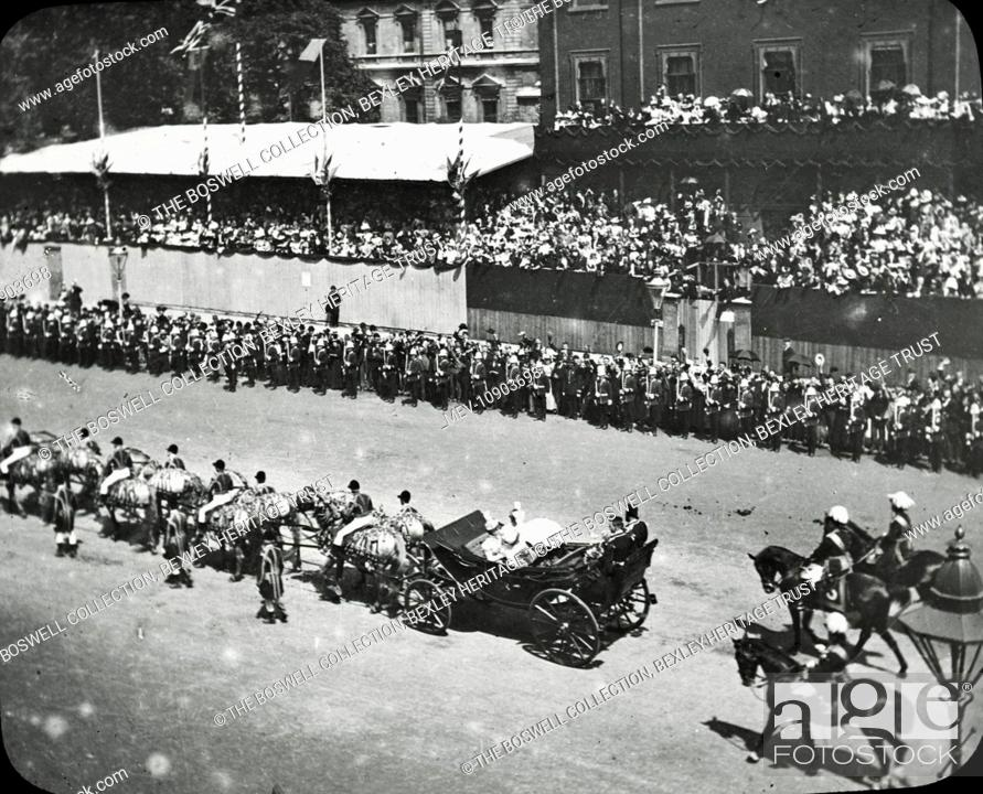 Stock Photo: Queen Victoria's Diamond Jubilee - Black and white Victorian lantern slide of Queen Victoria's horse drawn carriage passing through large crowds at Whitehall.