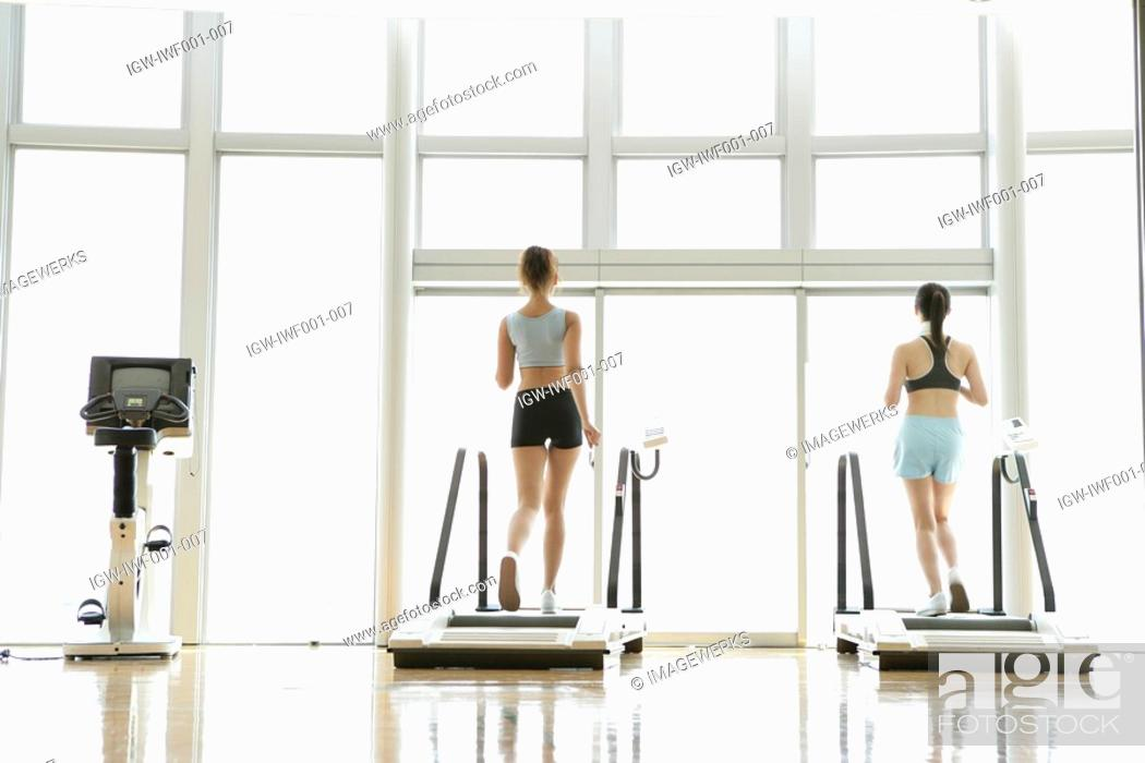 Stock Photo: Two young women on walker as they exercise in a well equipped gym.