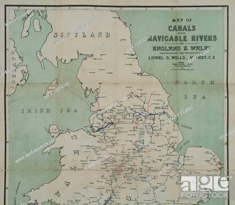 Map Of England Rivers And Canals.Map Of Canals And Navigable Rivers Of England And Wales C1910