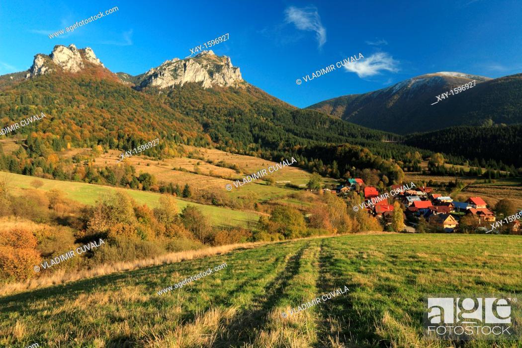 Stock Photo: View of Velky Rozsutec from the meadows near Stefanova at the Vratna valley, Mala Fatra, Slovakia.