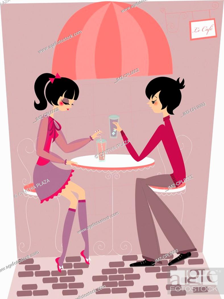Stock Photo: A couple having drinks at a cafe.