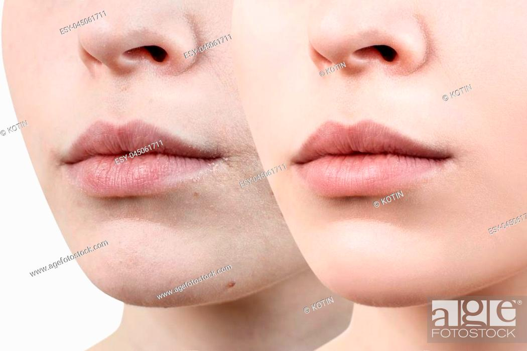 Imagen: Perfect natural lips of young woman. Close- up beautiful female mouth. Plump full lips.