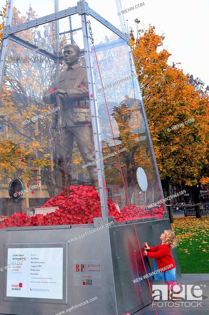 Stock Photo: A sculpture from the First World War has been unveiled in Glasgow as part of Scotland's Poppy Appeal. The 23 foot travelling statue.