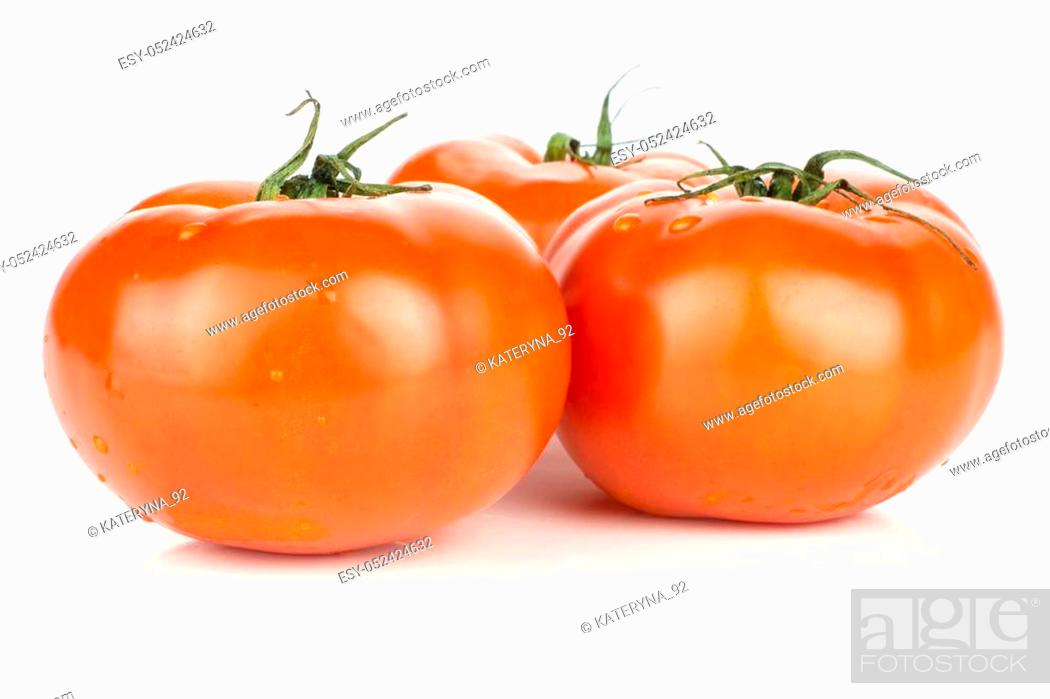 Photo de stock: Three red tomato with vine ends isolated on white background fresh whole.