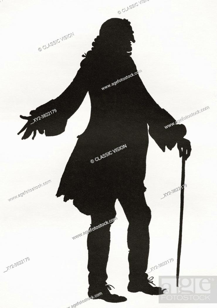 Stock Photo: A paper cutting or silhouette of Henry Fielding by Hugh Thomson. Henry Fielding, 1707 1754. English novelist and dramatist.