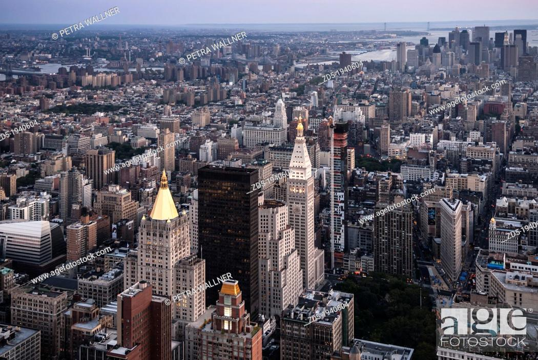 Stock Photo: View from the Empire State Building to the south with the skyline of Lower Manhattan, Financial District, New York City, New York, USA, North America.