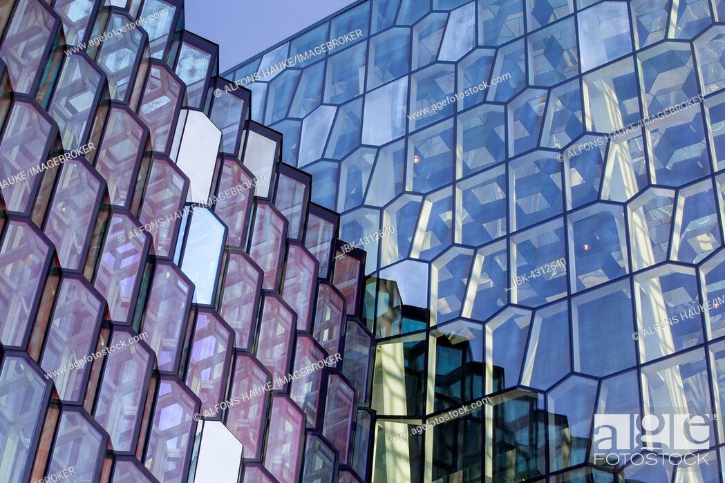 Stock Photo: Detail of the facade, Harpa, Reykjavik, Southern Region, Iceland.