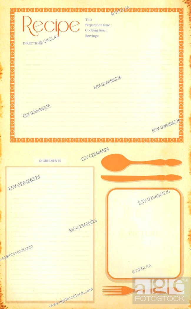 Stock Photo: Old grunge retro recipe card layout.