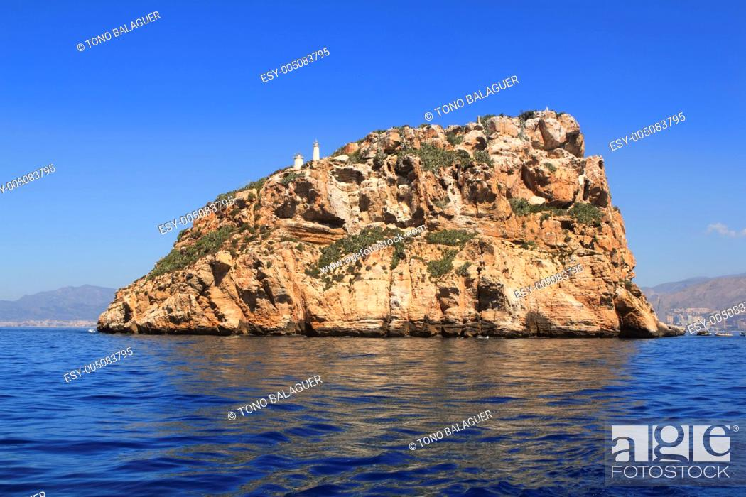 Stock Photo: Benidorm Island north view blue sea sky.