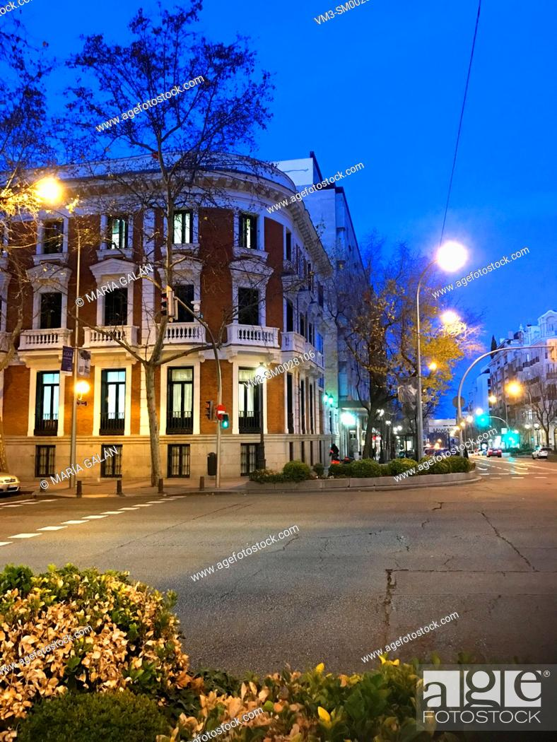 Stock Photo: ONCE Foundation building, night view. Velazquez street, Madrid, Spain.