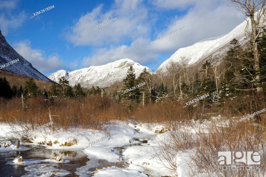 Stock Photo: Eagle Cliff from along the Pemi Trail in Franconia Notch State Park of the New Hampshire White Mountains during the winter months.