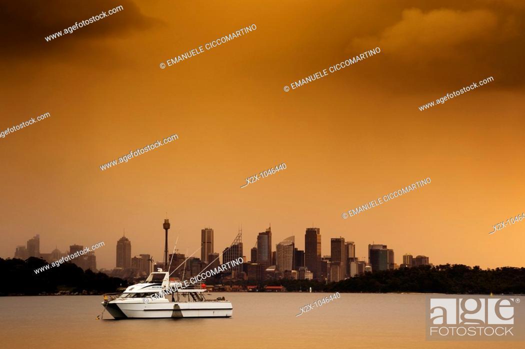 Stock Photo: City of Sydney seen from Parsley Bay, New South Wales, Australia.