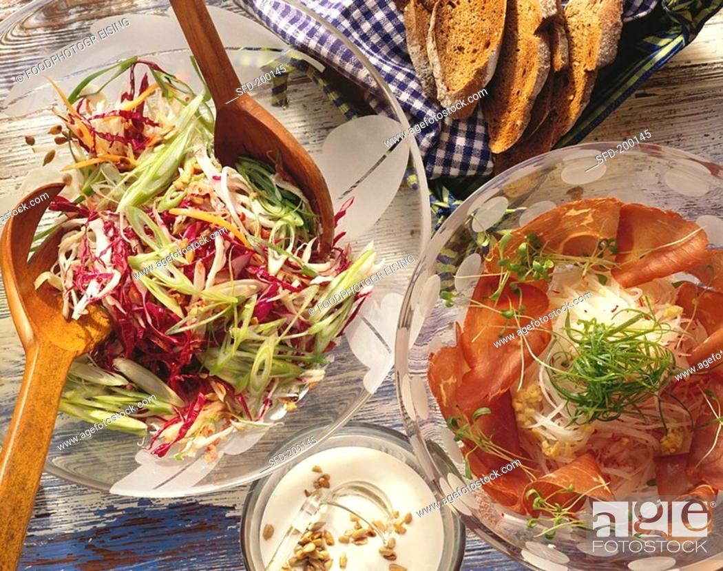 Stock Photo: Radish salad with air-dried beef & raw red & white cabbage.