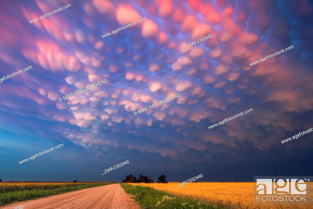 Stock Photo: Intense mammatus clouds form over northern Oklahoma.