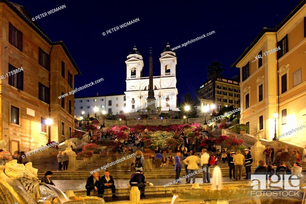 Stock Photo: Italy, Rome, Scalinata della Trinita dei Monti, the Spanish Steps at Piazza di Spagna.