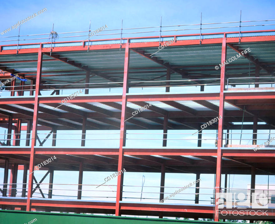Stock Photo: Steel framework, offices under construction.