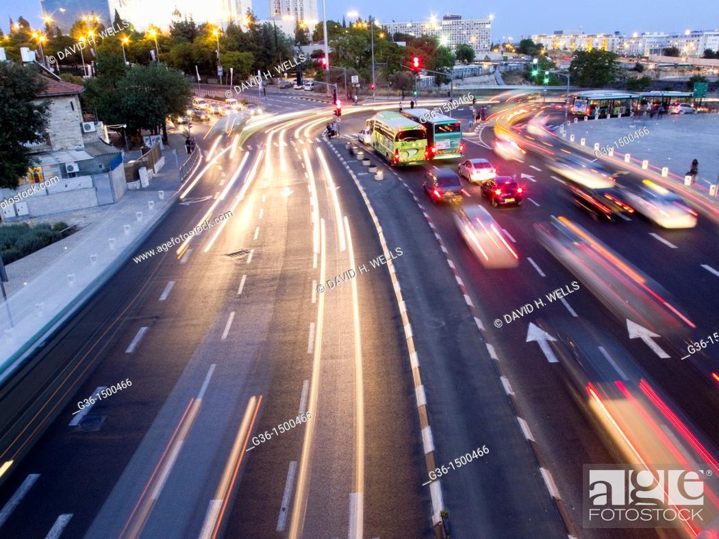 Stock Photo: Road traffic at twilight in Jerusalem, Israel.