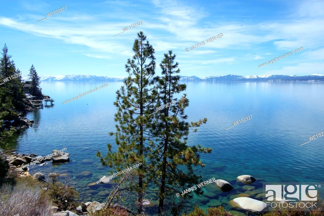 Stock Photo: View of beautiful calm Lake Tahoe in March.