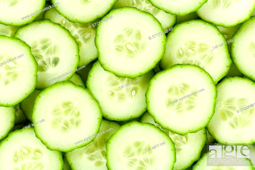 Stock Photo: Detail of cucumber slices.
