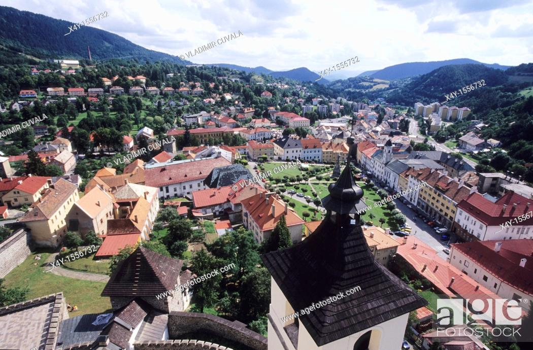 Stock Photo: View of the medieval mining town Kremnica in Slovakia from the historic castle's tower.